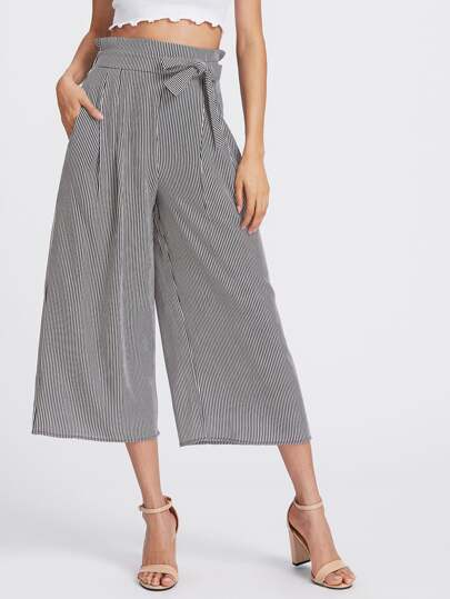 Vertical Pinstriped Bow Tie Wide Leg Pants