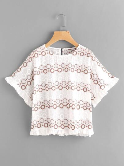 Frill Trim Keyhole Back Embroidery Blouse