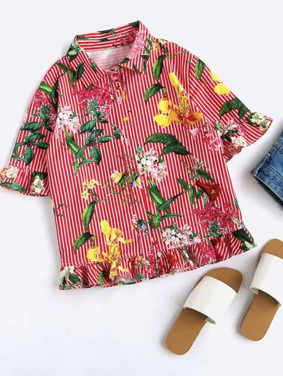 Mixed Print Frill Trim Blouse