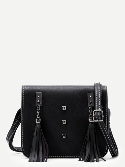 Tassel Embellished Flap Shoulder Bag With Studded