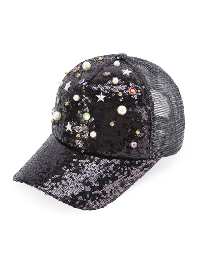 Faux Pearl Embellished Sequin Trucker Cap