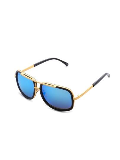 Gafas de sol de superior con barra de lente destellado en contraste