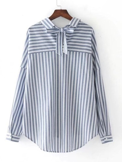 Bow Tie Back Vertical Striped Blouse