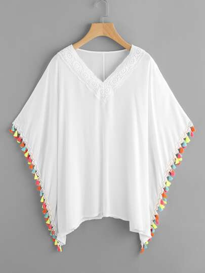 Contrast Tassel Trim Crochet Applique Kaftan Top