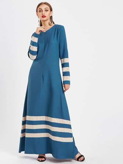 Striped Panel Zipper Cuff Full Length Kaftan Dress