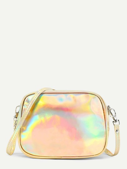Iridescent Casual PU Crossbody Bag