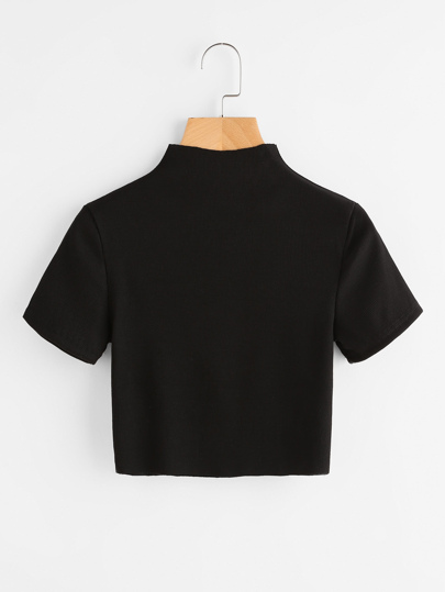 High Neck Ribbed Crop Tee