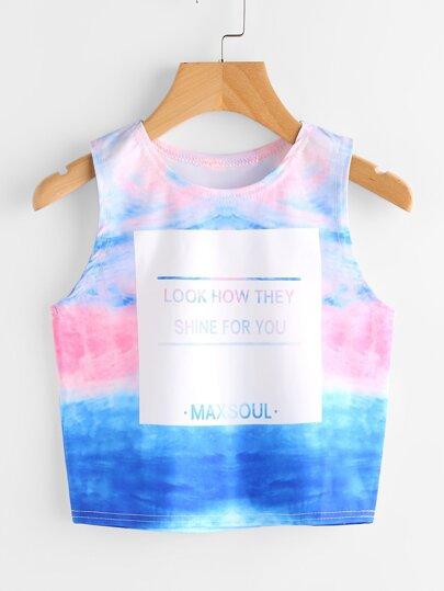 Top canotta tie-dye stampato