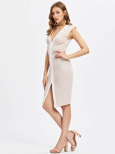 Contrast Binding Split Front Sheath Dress