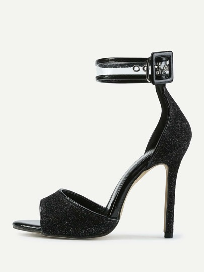 Peep Toe Ankle Strap Stiletto Heeled Sandals