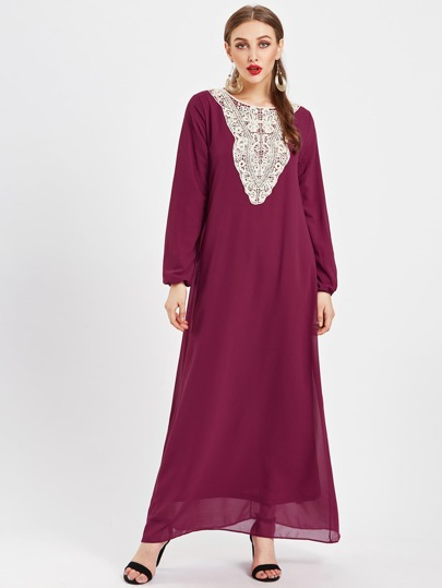 Contrast Crochet Panel Chiffon Kaftan Dress