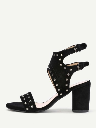 Studded Detail Ankle Cuff Block Heeled Sandals