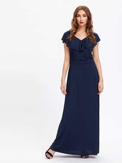 Double V Frill Trim Full Length Dress
