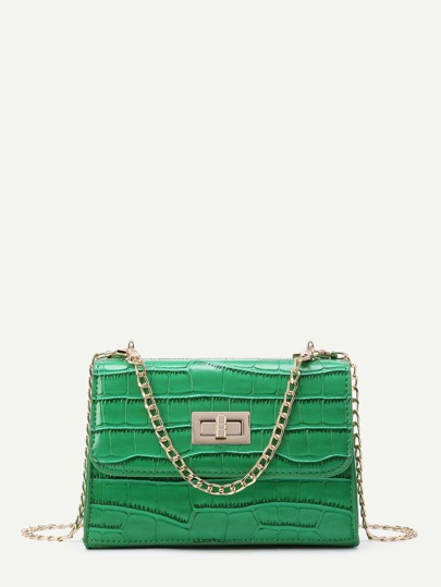 PU Crocodile Print Twist Lock Chain Bag