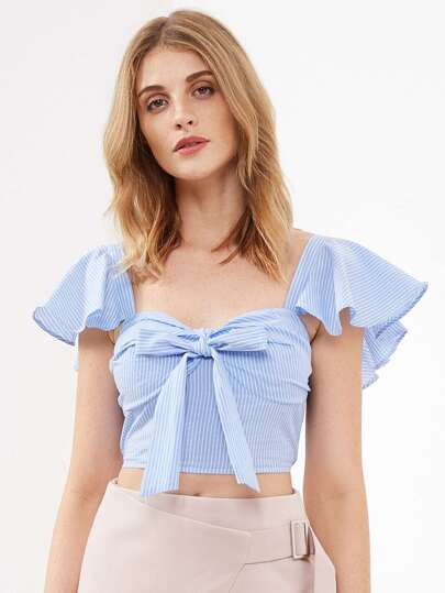 Flutter Sleeve Bow Front Smocked Bustier Top