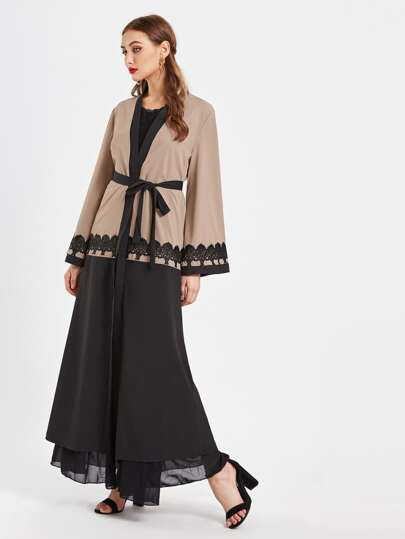 Color Block Crochet Appliques Trim Longline Abaya