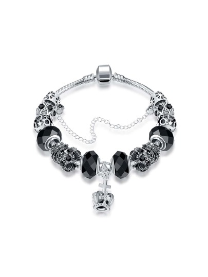 Crown Detail Chain Bracelet With Crystal