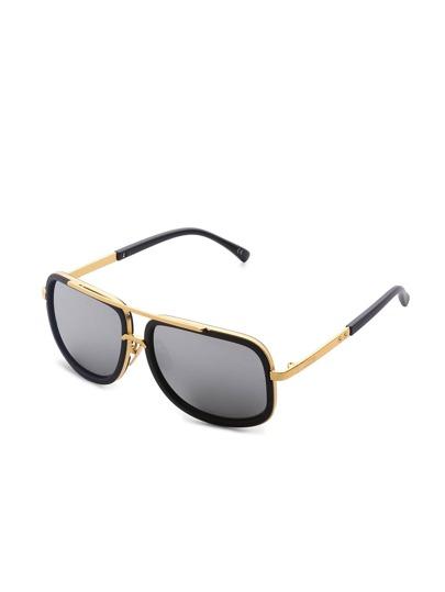 Gafas de sol de superior con barra de lente de espejo en contraste