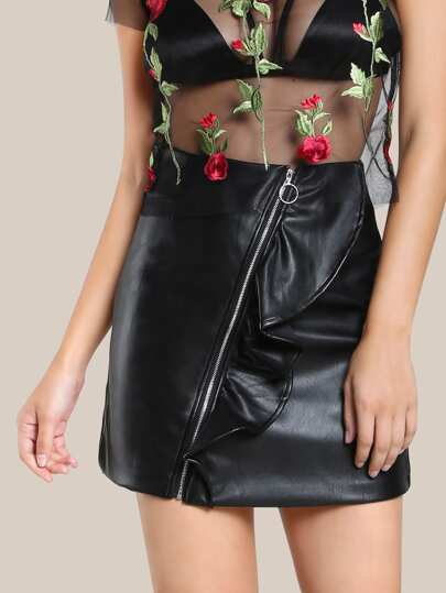 Ruffle Front Faux Leather Skirt BLACK