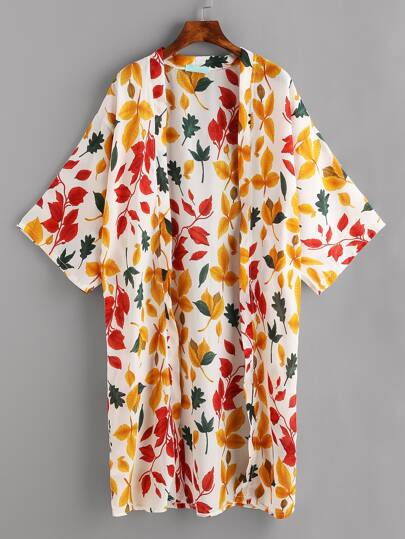Allover Leaf Print Drop Shoulder Kimono