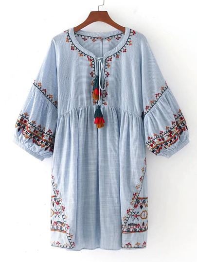 Tasseled Tie Lantern Sleeve Embroidered Smock Dress