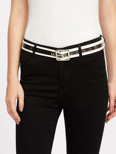 Contrast Trim Buckle Belt