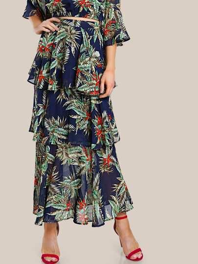 Zip Back Tiered Flounce Tropical Skirt