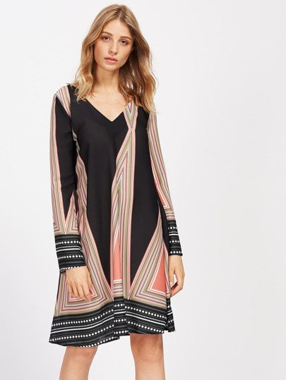 Bell Sleeve Tribal Print Shift Dress