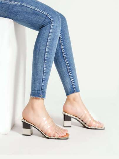 Clear Detail Two Tone Heeled Sandals