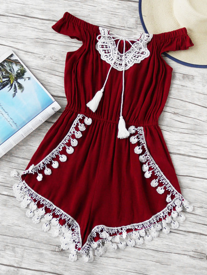 Off Shoulder Lace Trim Self Tie Neck Romper