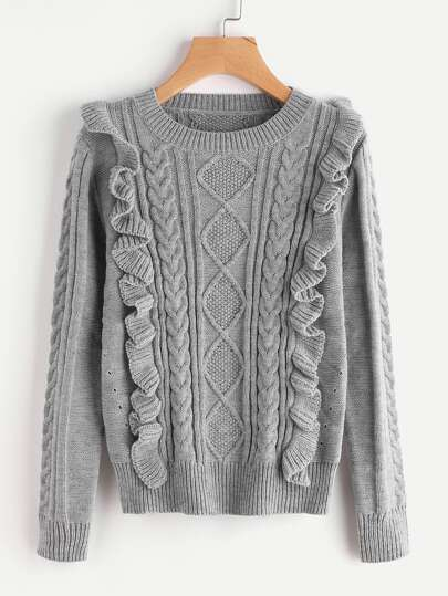 Ruffle Trim Mixed Knit Jumper