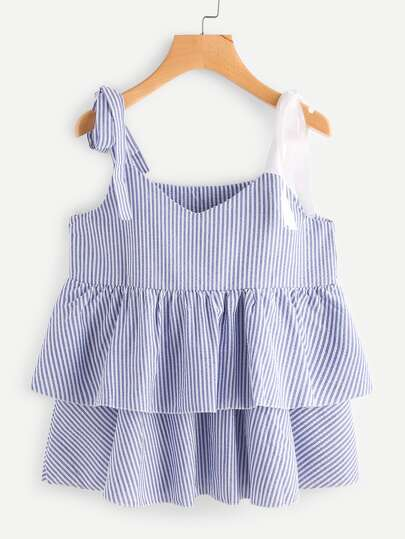 Tie-Strap Tiered Frill Striped Cami Top