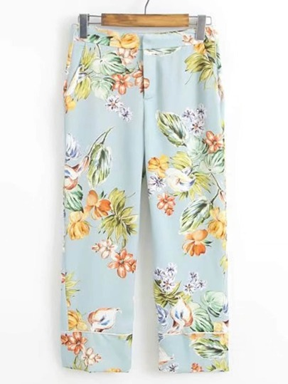 Flower Print Wide Leg Pants