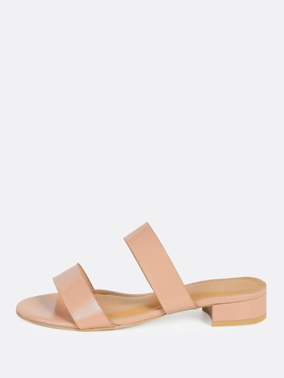 Double Band Patent Mules NUDE