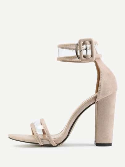 Clear Detail Two Part Block Heeled Sandals