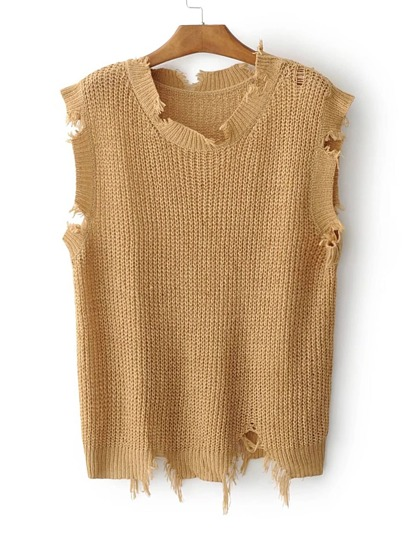 Ripped Detail Sweater Vest
