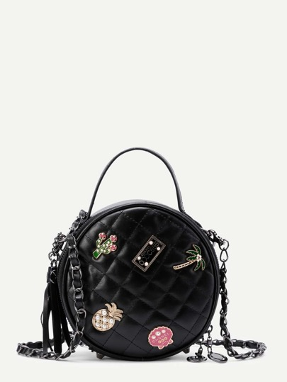Patch Detail Quilted Ball Bag With Faux Pearl