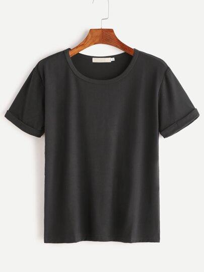 Black Rolled Sleeve Basic T-shirt