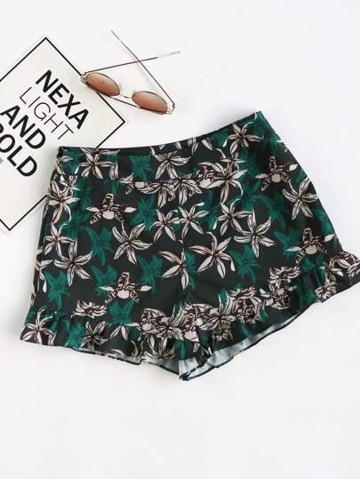 Shorts imprimé fleuri avec le zip et des plis