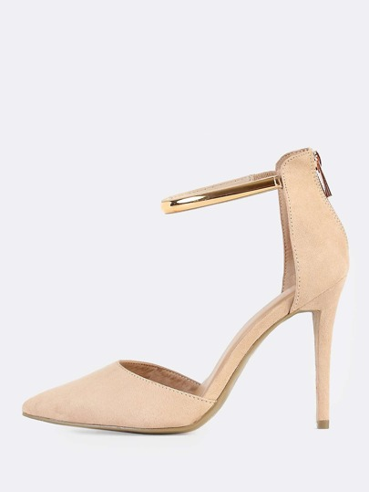 Point Toe Gold Anklet Heels NUDE