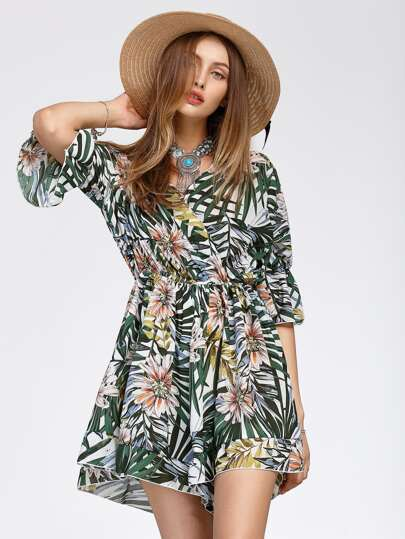 Jungle Print Surplice Neckline Flute Sleeve Romper