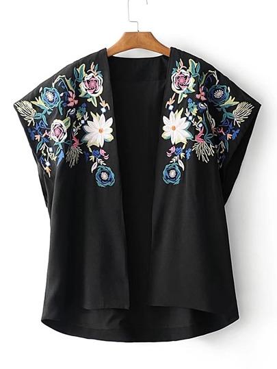 Kimono abierto en la parte delantera con bordado