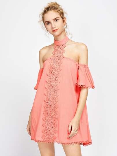 Off Shoulder Lace Trim Halter Neck Dress