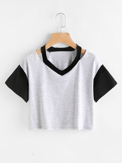 Contrast Panel Ripped Neck Marled Crop T-shirt