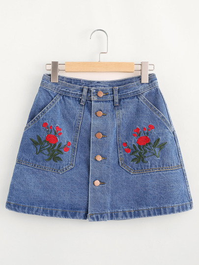 Floral Embroidered Single Breasted A Line Denim Skirt
