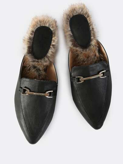 Faux Leather Fur Slip Ons BLACK