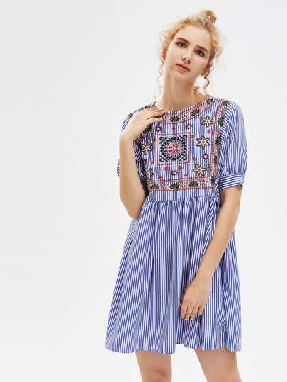 Vertical Striped Aztec Embroidered Smock Dress