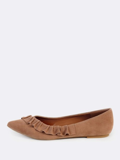 Frilly Trim Suede Flats TAUPE