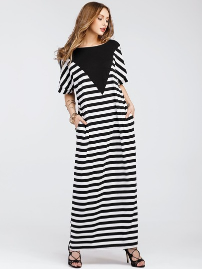 Striped Full Length Tee Dress With Contrast Panel