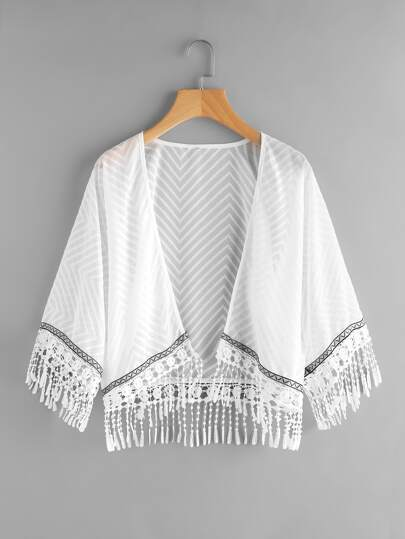 Crochet Fringe Hem Embroidered Tape Detail Kimono